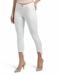 HUE Denim Skimmer Leggings L High-Low Shipwrecked